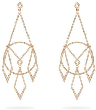 Diane Kordas Diamond & 18kt Rose Gold Earrings - Womens - Gold