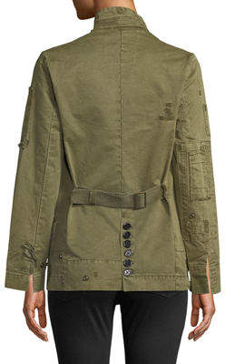 Zadig & Voltaire Vladimir Grunge Distressed Denim Jacket W/ Back Belt