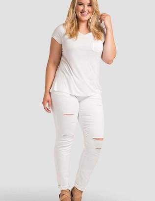 Standards & Practices Hannah Ripped Skinny Jeans in White Size 12R