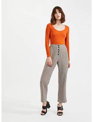 Miss Selfridge Check Kick Flare Trousers