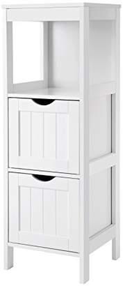 VASAGLE Floor Cabinet Multifunctional Bathroom Storage Organizer Rack Stand 2 Drawers White UBBC42WT