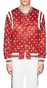 Ovadia & Sons Men's Star-Print Satin Bomber Jacket-Red