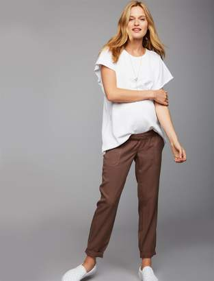 A Pea in the Pod Under Belly Chambray Jogger Maternity Pants