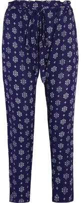 Eberjey - Buena Vista Hudson Printed Voile Tapered Pants - Mid denim $140 thestylecure.com