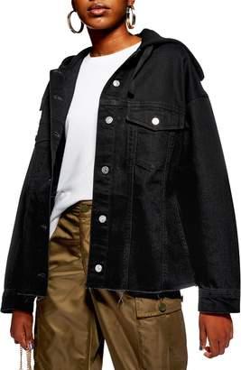 Topshop Hooded Hybrid Denim Jacket