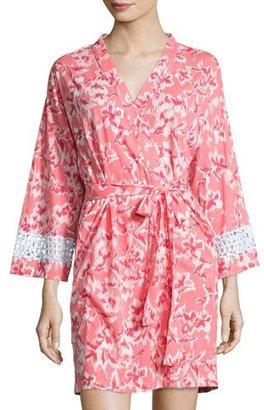 Oscar de la Renta Print Cotton Wrap Robe, Coral $164 thestylecure.com