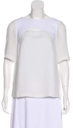 Tibi Short Sleeve Sheer Top