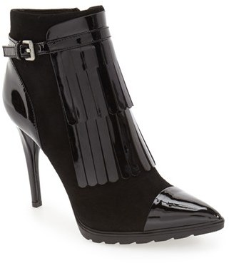 Calvin Klein 'Makena' Pointy Toe Kiltie Bootie (Women) $179.95 thestylecure.com