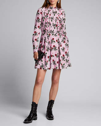 Valentino Rose-Print Georgette Ruffle-Front Dress