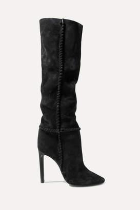 Saint Laurent Mica Suede Knee Boots - Black