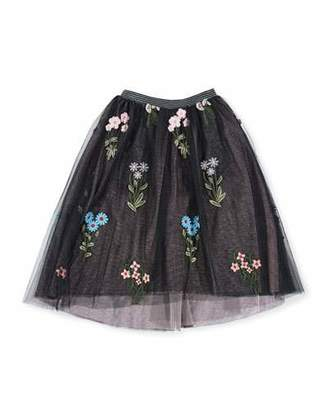 Hannah Banana Midi High-Low Floral Embroidery Tulle Skirt, Size 7-14