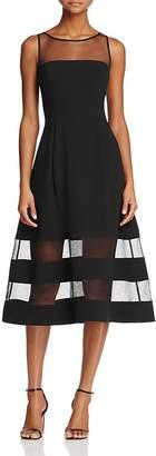 Aidan Mattox Aidan Aidan Illusion Fit-and-Flare Dress