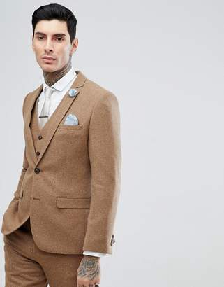 Harry Brown Camel Nep Slim Fit Suit Jacket