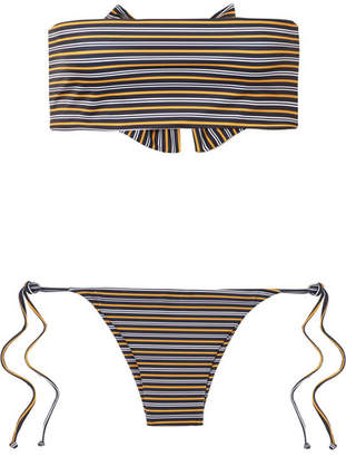 Faithfull The Brand Striped Bandeau Bikini - Midnight blue