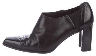 Stuart Weitzman Leather Square-Toe Booties