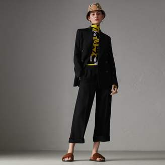 Burberry Wool Silk Cropped Tailored Trousers