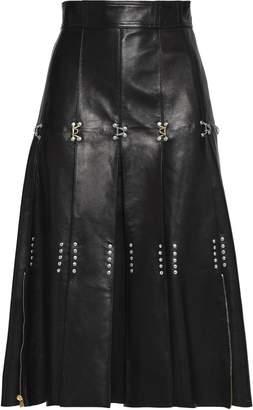 Alexander McQueen (アレキサンダー マックイーン) - アレキサンダー・マックィーン 装飾付き プリーツ入り レザー スカート