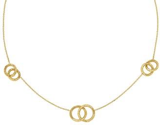 Italian Gold Interlocking Circle Stations Necklace 14K, 6.3g