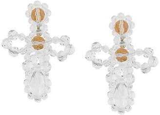 Simone Rocha crystal embellished cross earrings