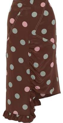 Marni Asymmetric Polka-dot Silk Crepe De Chine Skirt
