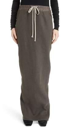 Rick Owens Drawstring Waist Camel Hair & Linen Skirt