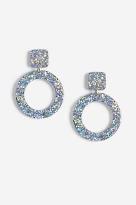 Topshop Glitter Drop Circle Earrings