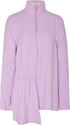Tibi Modern Drape Zip Up Neck Top