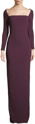 SOLACE London Lolita Bateau-Neck Long-Sleeve Column Evening Gown