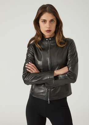 Emporio Armani Supreme Nappa Leather Biker Jacket With Zip And Buttons