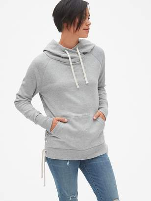 Gap Lace-Up Hoodie Sweatshirt Tunic in French Terry