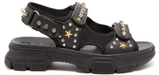 Gucci Stud Embellished Leather Sandals - Mens - Black