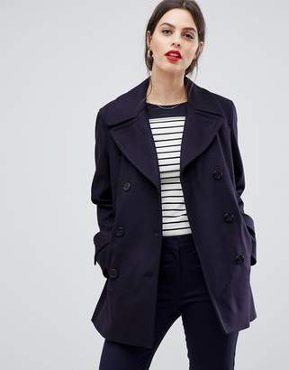 French Connection Platform Wool Cashmere Blend Double Breasted Coat