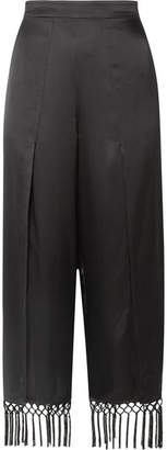 CAMI NYC The Max Macramé-trimmed Silk-charmeuse Wide-leg Pants - Black