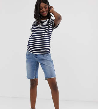 Bandia Maternity long line raw hem short with removable band