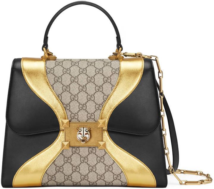 Iside GG Supreme and leather top handle bag