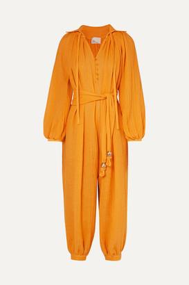 Lisa Marie Fernandez Poet Linen-blend Gauze Jumpsuit - Saffron