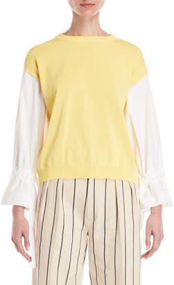Cavallini Erika Mix Media Tie Sleeve Sweater