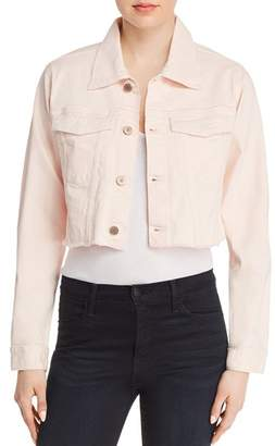 DL1961 Shawn Cropped Boyfriend Denim Jacket in Blush Pink