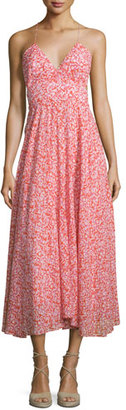 Rebecca Taylor Sleeveless Floral Silk Midi Dress, Red $475 thestylecure.com