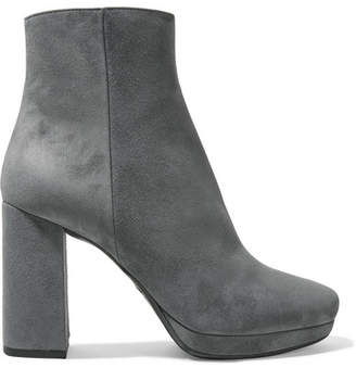 Prada Suede Platform Ankle Boots - Gray