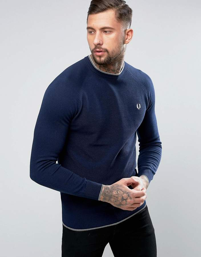 Fred Perry Fred Perry Mercerised Cotton Tipped Crew Neck Sweater in Navy