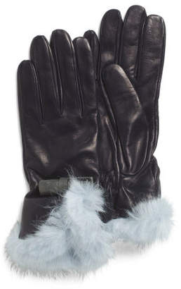 Made In Italy Leather Bow Faux Fur Cuff Glove Set