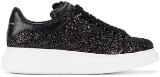 Alexander McQueen Black Glitter Platform Sneakers