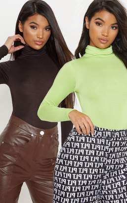 PrettyLittleThing Basic Neon Lime & Chocolate 2 Pack Roll Neck Long Sleeve Bodysuit