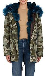 Mr & Mrs Italy Women's Fur-Lined Camouflage Cotton Midi-Parka - Dk. Green
