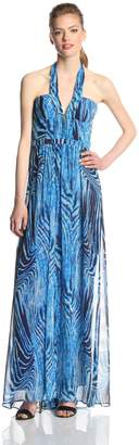 BCBGMAXAZRIA Women's Starr Printed Halter Evening Maxi Gown