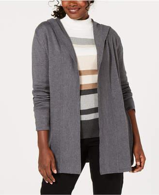 Karen Scott Hooded Open-Front Cardigan, Created for Macy's