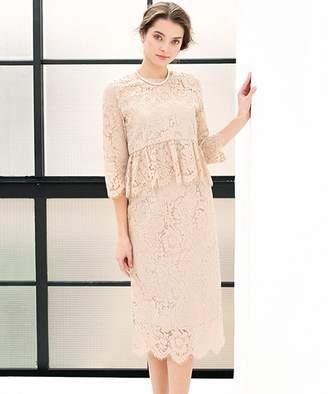 Girl レースペプラムブラウス&スカートのセットアップ結婚式ワンピース・お呼ばれパーティードレス