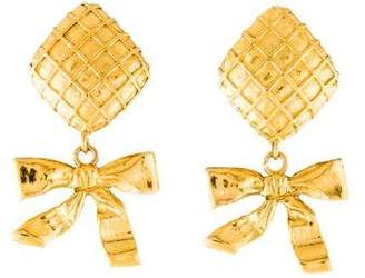 Chanel Quilted Bow Drop Earrings