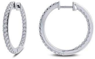 Lafonn Platinum Plated Sterling Silver Simulated Diamond Inside Out 25mm Hoop Earrings